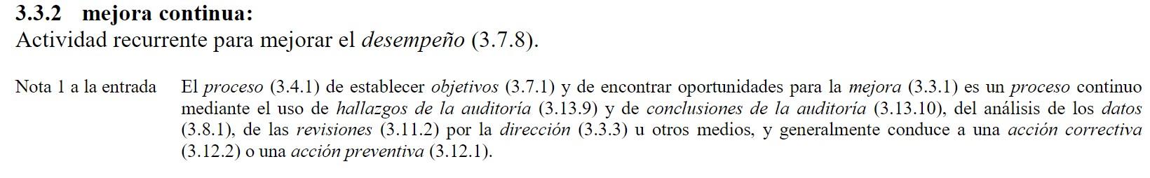 extracto de la definicion de mejora continua segun la norma iso 9000 vocabulario y definiciones