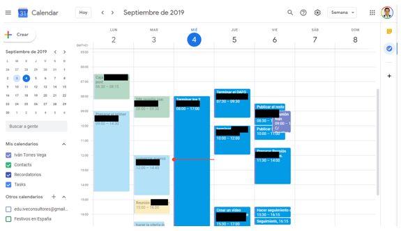 pantallazo google calendar para organizar tareas