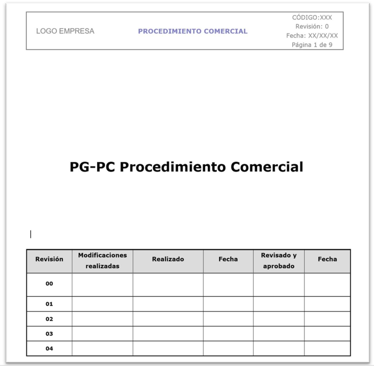 ejemplo formato procedimiento comercial