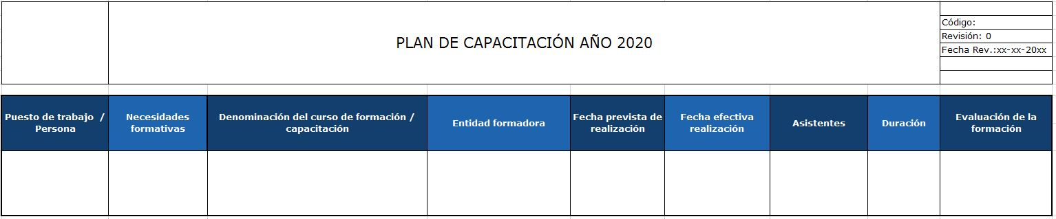 registro para demostrar plan de capacitacion