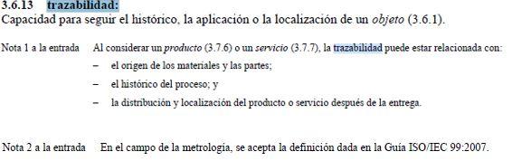 definicion trazabilidad según ISO 9000