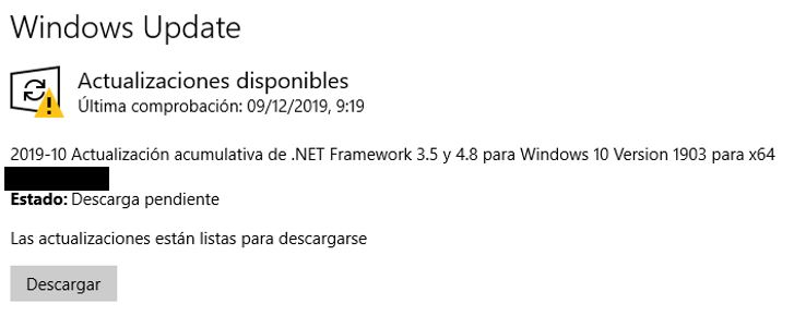 pantallazo actualizacion de windows update.