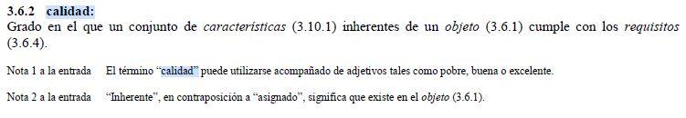 definicion calidad segun ISO 9000