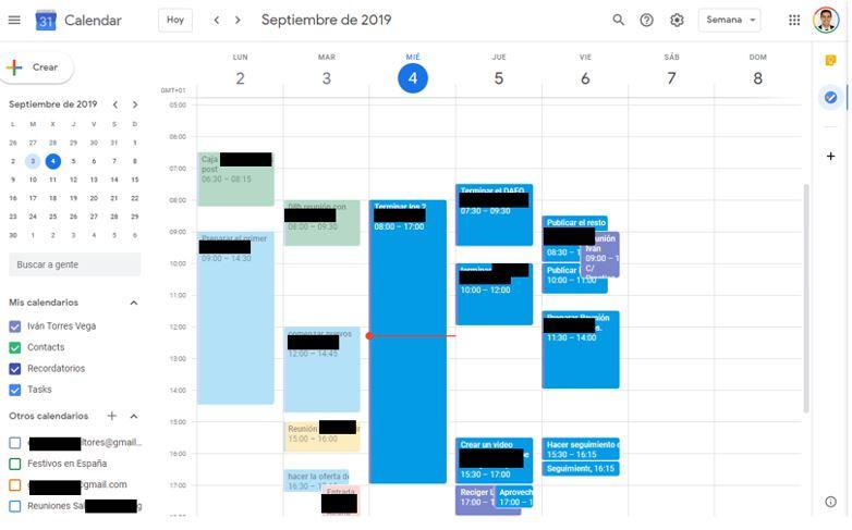 agenda de tareas en Google Calendar