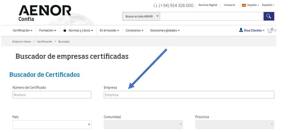 buscador interno Aenor consulta certificados
