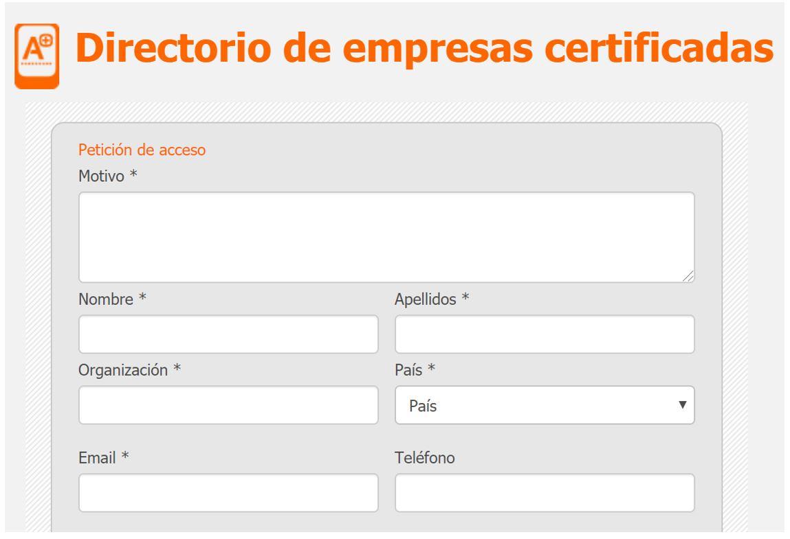 formulario petición acceso listado empresas certificadas Applus