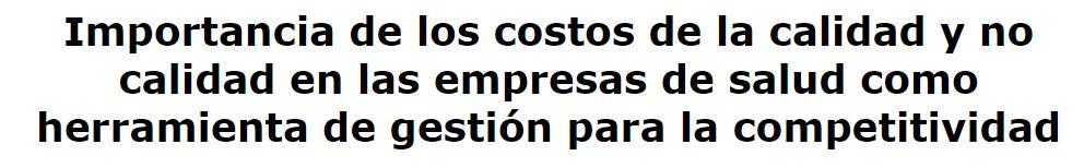 artículo costes de calidad en empresas de salud