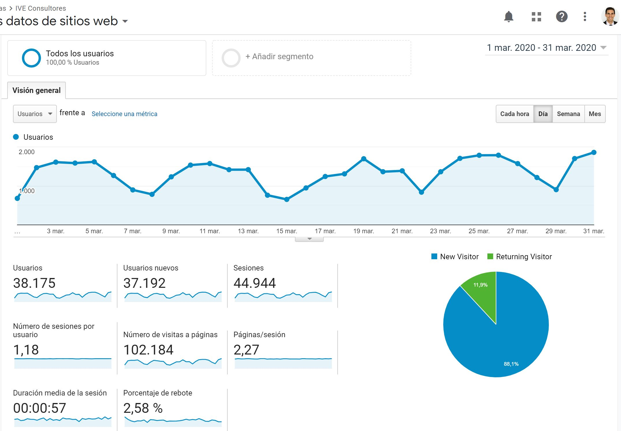 pantallazo visitas Google Analytics marzo 2020
