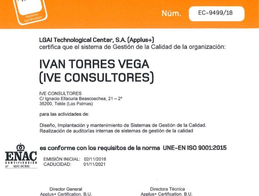 Certificado ISO 9001 IVE Consultores