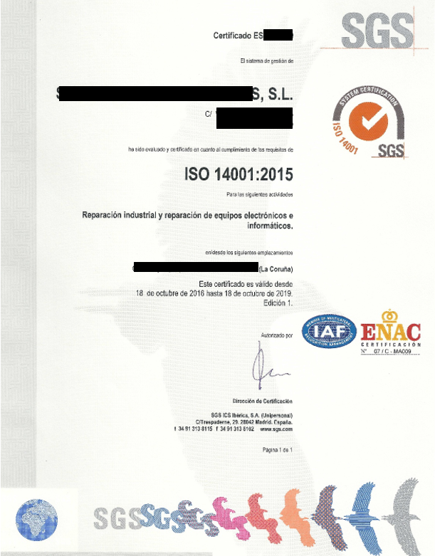 ejemplo certificado impreso iso 14001