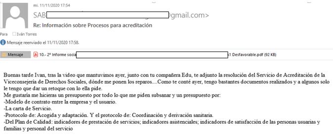 email solicitando servicio elaboracion plan de calidad